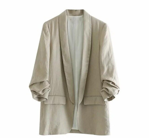 Leisure Linen Suit Jacket Office Lady Small Suit Solid Color Loose Cardigan Coat Thin Jacket Women 2019