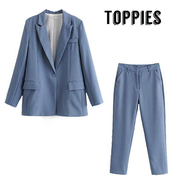 Leisure Office Pink Blue Suit Set Single Button Blazer Jacket High Waist Suit Pants Fall 2019 Two Piece Set Women