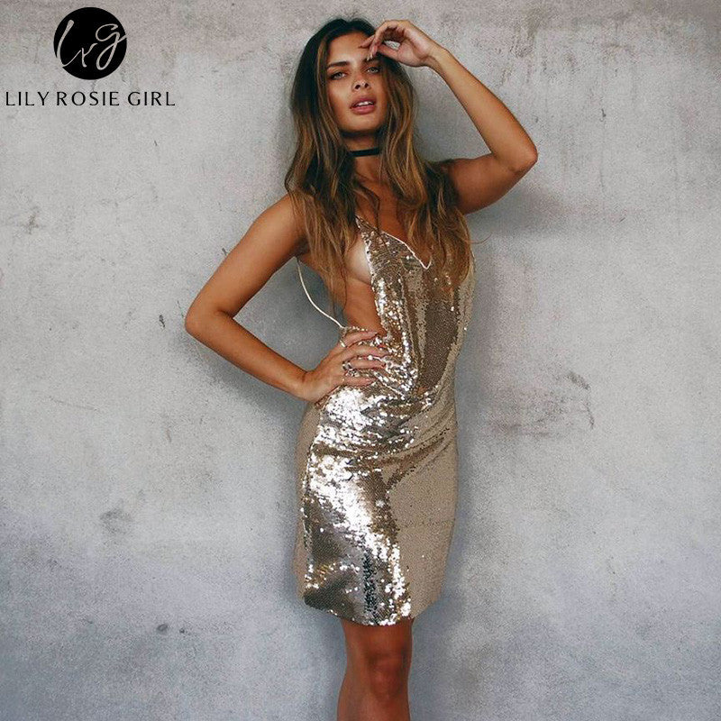 c0113b0fa5bc ... Lily Rosie Girl Deep V Neck Sexy Gold Sequin Dress Women Backless Strap  Off Shoulder Autumn ...