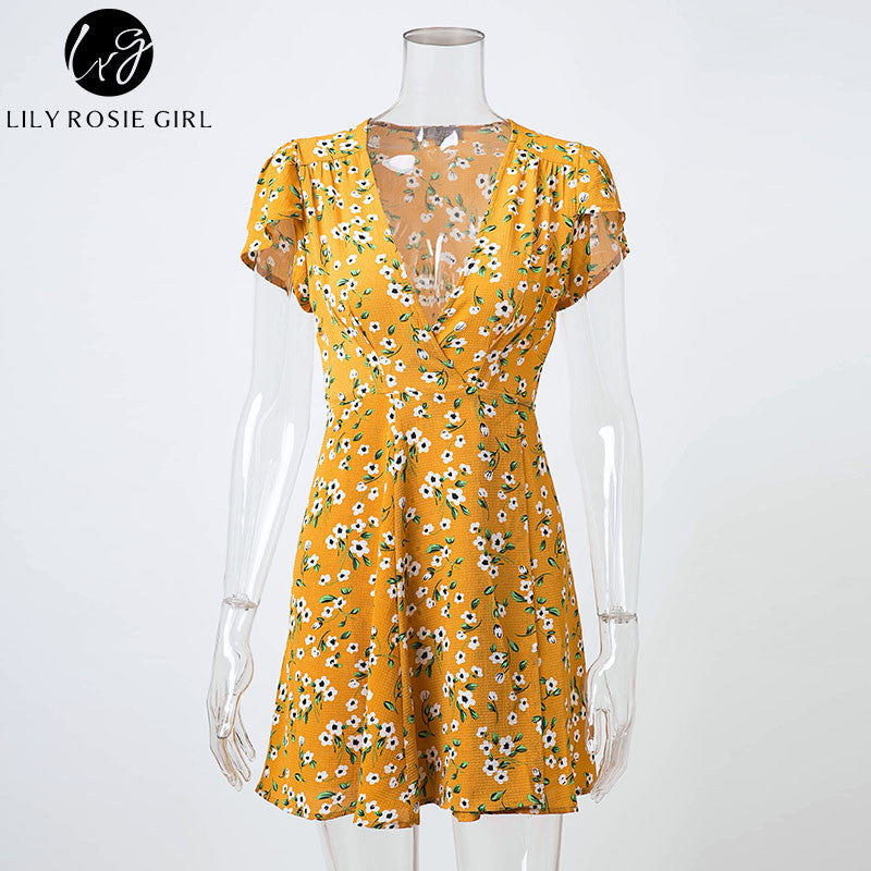 2ced2f37538 ... Lily Rosie Girl Women 2017 Deep V-neck Sexy Boho Style Summer Party  Mini Dress ...