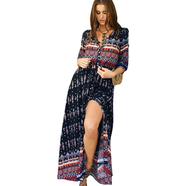 Long Women Dress Beach Sundresses Print Florals Button High Splits V neck Bohemain Style Robe Cocktail Party Dress 2017 LJ8799T