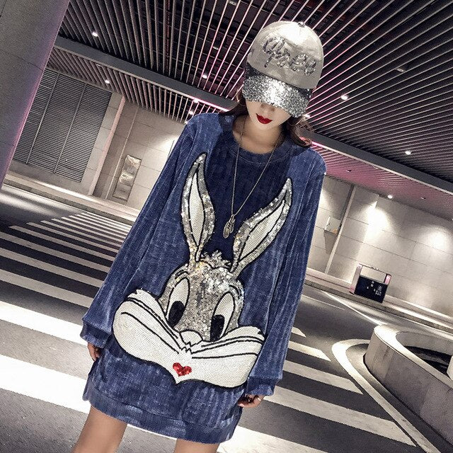 Long smoky blue sweater women's head autumn and winter new cartoon sequins glitter thick warm sweater winter clothes women
