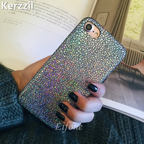 Luxury Bling Shining Fish Scales Laser Colorful Soft Case For iPhone 7 6 6S Plus Phone PU Leather Cover Back For iPhone 6 7 6S