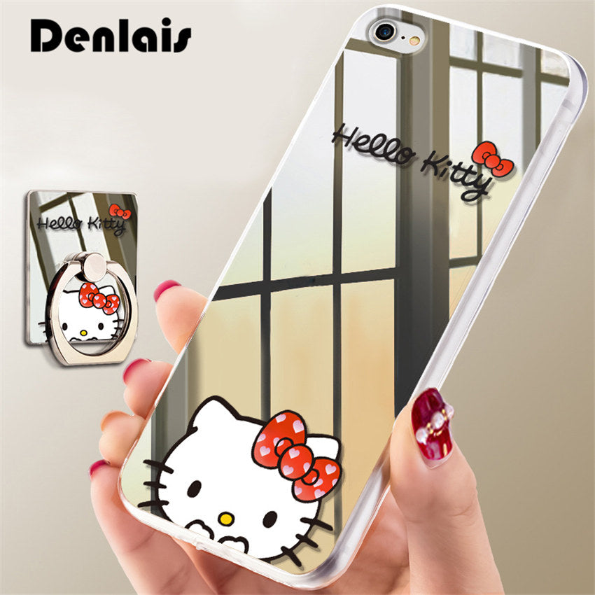 huge selection of 660a4 8e5d1 Luxury Mirror Cartoon Cute Hello Kitty Case For iPhone 7 7Plus 6 6S Plus 5  5S Cases Ultra Thin Clear Ring Holder Back Cover Capa