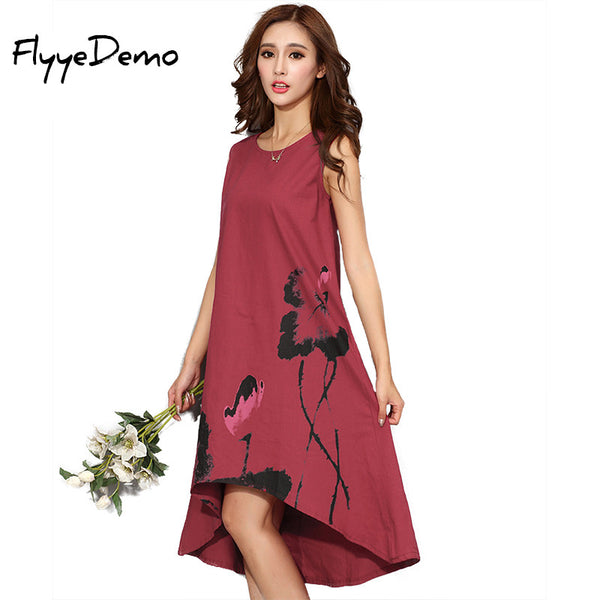 M - 6XL Summer Dress 2017 New Vestido Casual Dresses Women Chinese Linen Vintage Dress Ladies Sundress Plus Size Women Clothing