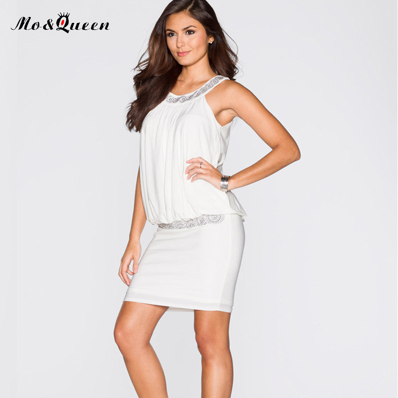 354b8ae84b1 ... MOQUEEN White Summer Dresses Women Halter Chiffon Fashion Casual Mini  Party Dress Ladies Bodycon Short Blouse ...