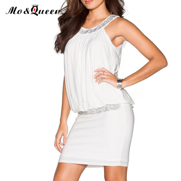 MOQUEEN White Summer Dresses Women Halter Chiffon Fashion Casual Mini Party Dress Ladies Bodycon Short Blouse 2017 Sexy Dress
