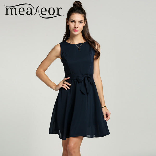 Meaneor Women Chiffon 13 Solid colors Summer Pretty Vestidos Famale elegant Pleated Dress Sleeveless Vest mini Dress With Belt