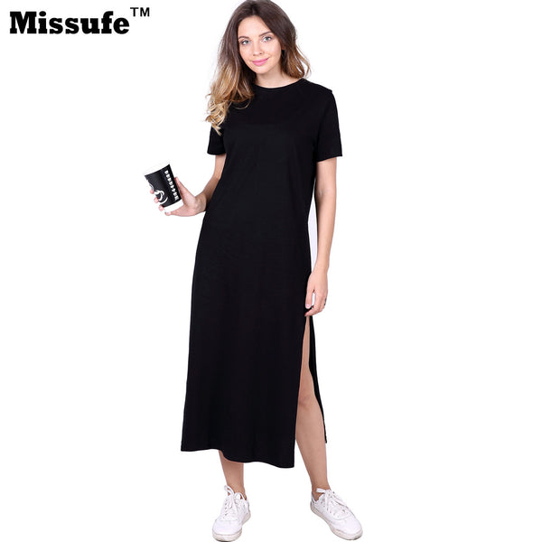 Missufe Casual Loose T-shirt Dress 2017 Summer Style Women Clothing High Split Straight Midi Tunic Sarafan Beach Robe