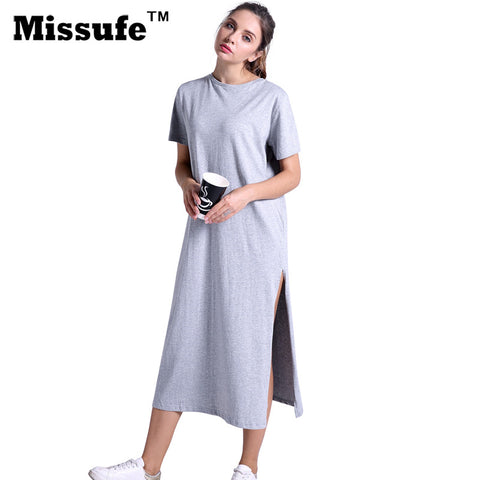 170554c1a71 Sale Missufe Casual Loose T-shirt Dress 2017 Summer Style Women Clothing  High Split Straight Midi
