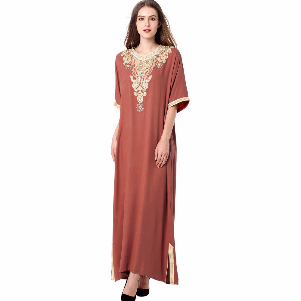 004b9f7caa8 ... Muslim women Long sleeve Tunic Dress maxi abaya islamic women vintage  dress clothing robe kaftan caftan ...