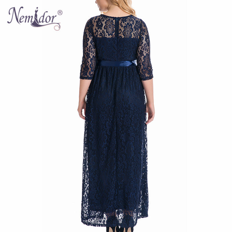 Nemidor High Quality Women Elegant O-neck Party Belted Lace Dress ...