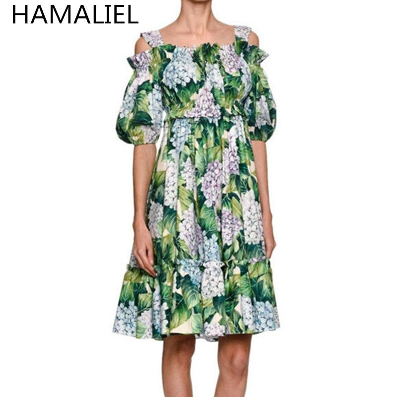 4494c46216100 New 2017 Runway Hydrangea Floral Summer Dress Women Cold Cut Out Shoul – Intel  Retro