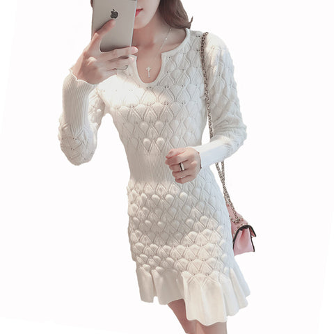 New Style Women Ribbed Trims Fishtail Knitted Sweater Dresses White/Blue/Black Long Sleeve Skinny Office Dress Knitwear S-XL