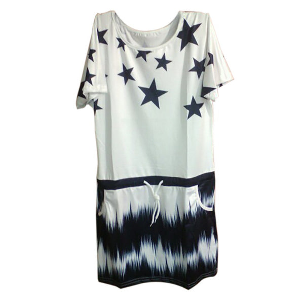 New Woman Dress 2017 Summer Round Neck Women's Casual Star Printed Gradient Dresses With Sashes