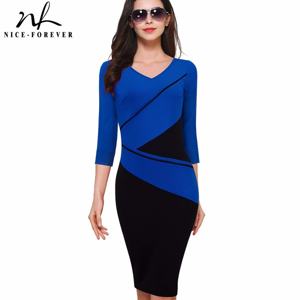 Nice-forever Vintage Elegant ColorBlock Patchwork V-Neck Bodycon Women  Office Wear to Work Plus Size Business Dress B384
