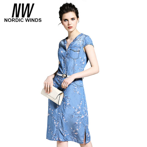Nordic Winds Denim Dress 2017 Summer Womens Clothing V-neck Short Sleeve Plum Blossom Bird Print Vestidos Jeans Denim Dresses