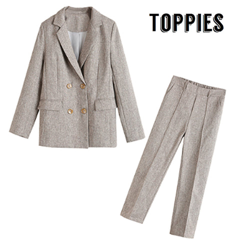 Office Lady Formal Small Suit Set Korean Two Piece Set Women Vintage Double Breated Blazer Jacket Eleastic Waist Straight Pants