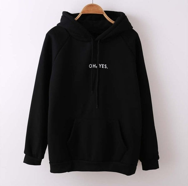 Oh Yes Letter Harajuku Casual Coat Two Layers Hat  Winter Fleece Pink Pullover Thick Loose Women Man Hoodies Sweatshirt Female