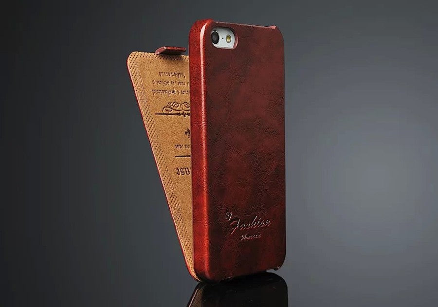a2d50f3f84fc Oil-wax Genuine Leather Vertical Flip Cover Case for Apple iPhone 5 5S SE  ...