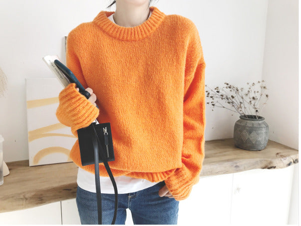 Orange Sweater Round Neck Knitting Pullover Sweater Woman Jumpers Fall 2019 Girls Jersey Korean