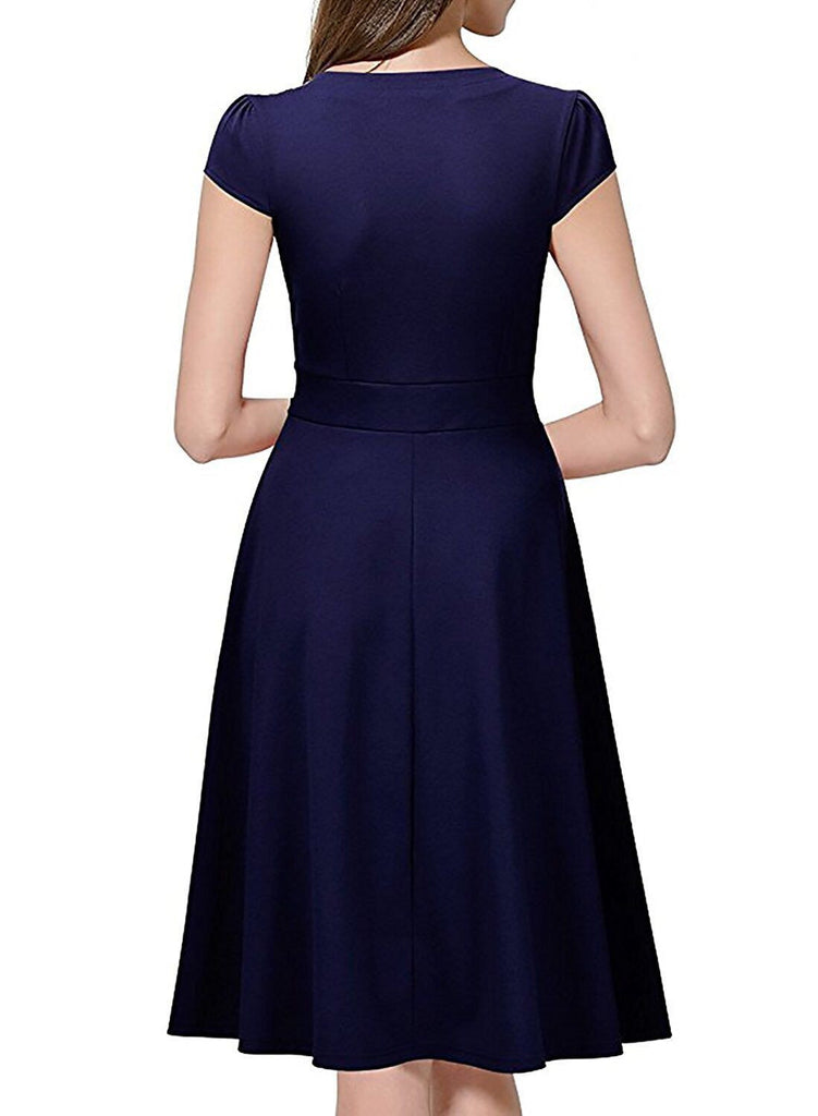 Oxiuly Audrey Hepburn 50s Vestidos Womens Dress Formal V Neck Casual
