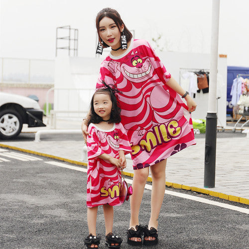 Parent-child wear mother and women summer 2019 tide brand cartoon print long loose fashion three T-shirt dress
