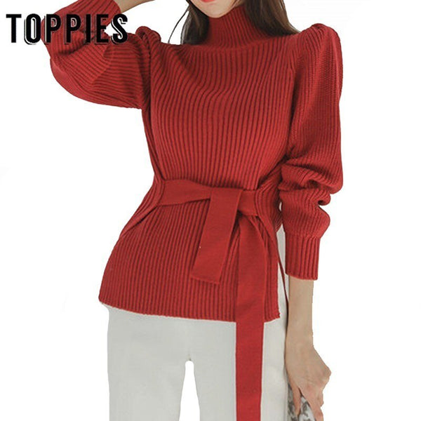 Pink Sweater Lace Up Waist Puff Sleeve Knitted Tops Lady Elegatn Pullover Turtleneck Sweater Autumn Winter Women 2019
