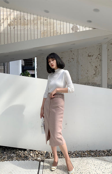 Pink Woolen Skirts High Waist Lady Office Midi Skirts Front Split Elegant Streetwear 2019 Autumn Winter Clothings