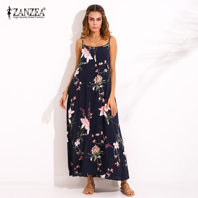 06dd93a472 ... Plus Size S-5XL ZANZEA Women Sexy Floral Print Sleeveless Sundress Summer  Ladies Casual Loose ...