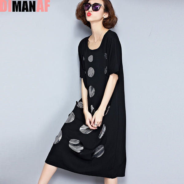 Plus Size Women Dress Summer Polka Dot Hole Print Tee Dress Female Big Size Loose Cotton T-Shirt Fashion O-Neck Black New Dress