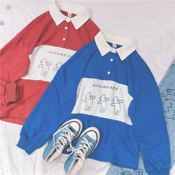 Preppy style Korean Cute Bear Pattern Women Long Sleeve Hoodie Harajuku Girl Student Pullover Polo collar Shirts Sweatshirt