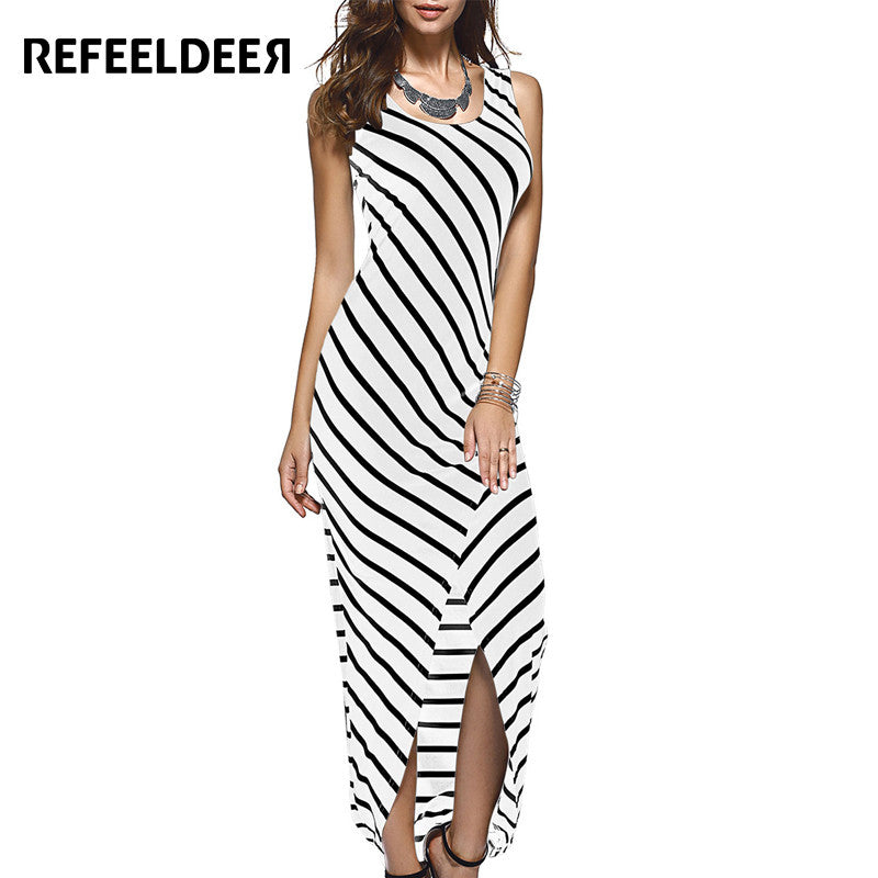 e645e949c7c ... Refeeldeer Women Summer Dress 2017 Summer Sundress Female Striped Long  Maxi Dress Tunic Boho Beach Dress ...