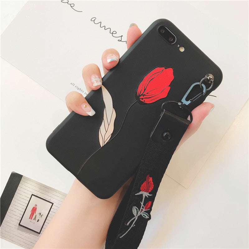 the best attitude 4b539 8765c Retro 3D Rose embroidery Wrist strap phone cases for iphone 7 7plus 8 8plus  Flower relief silicon Case for iphone 6 6s 6Plus