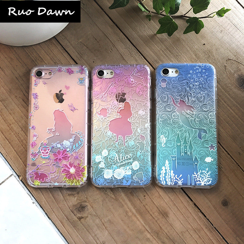 quality design 7ff23 37836 Ruo Dawn Relief Mermaid Phone Cases For iphone 6 6S 7 8 Plus X Soft TPU  Shell Fashion Transparent Cover Mobile Protection Coque