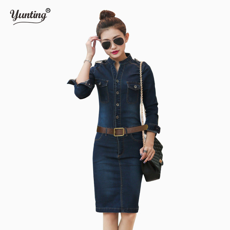 S  XL XXL Female/Ladies Casual Denim Dress Vintage Jeans Dresses Long Sleeve Blue New 2017 Fashion Women Spring Autumn