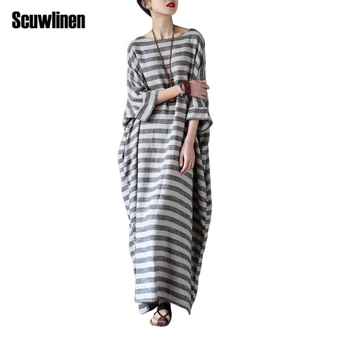 1fa2fe021aad Sale SCUWLINEN 2017 Summer Dresses Vintage Striped Batwing Sleeve Robe Maxi  Long Loose Plus Size Women Dress