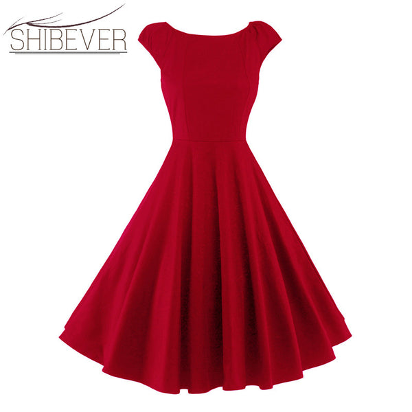 SHIBEVER A-line Casual Large Swing Dresses Women Clothing Vintage Summer dresses Fashion Elegant Sleeveless Sexy Dresses LDD30