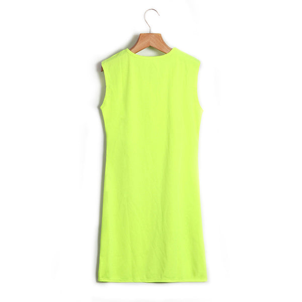 Sexy Women Dress Tassel Fluorescent Color Summer Casual Dress Sleeveless Slim Fit Mini Dress Lady Vestidos LJ4898R