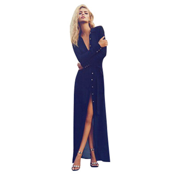 Sexy Women V Neck Long Sleeve Split Button Long Cardigan Blouse Shirt Beach Maxi Dress Deep Blue