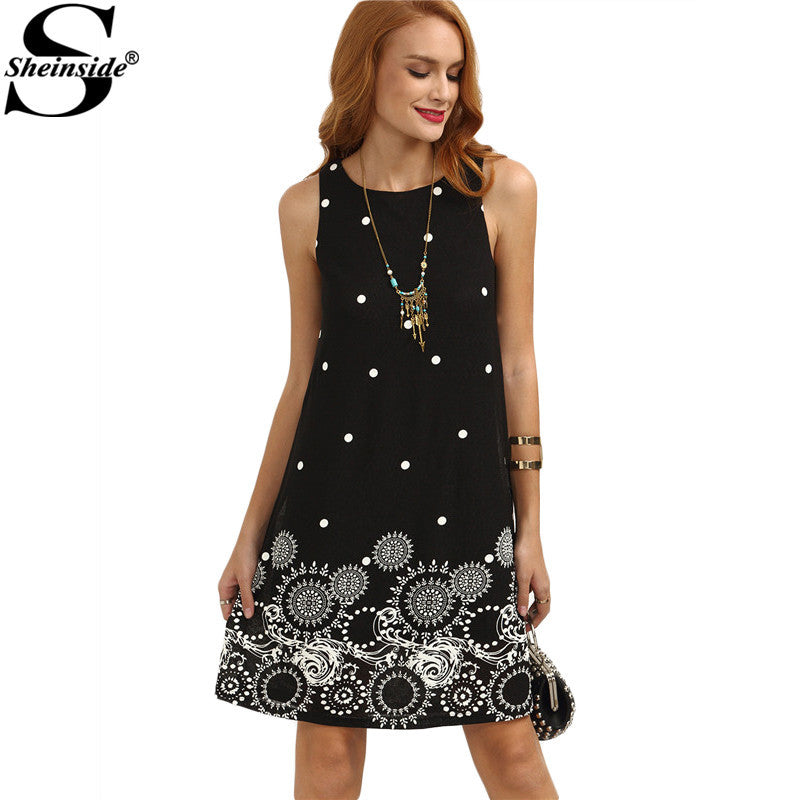 89319ffb65fda Sheinside Ladies Vintage Boho Summer Dress Black Polka Dot Print Strai –  Intel Retro