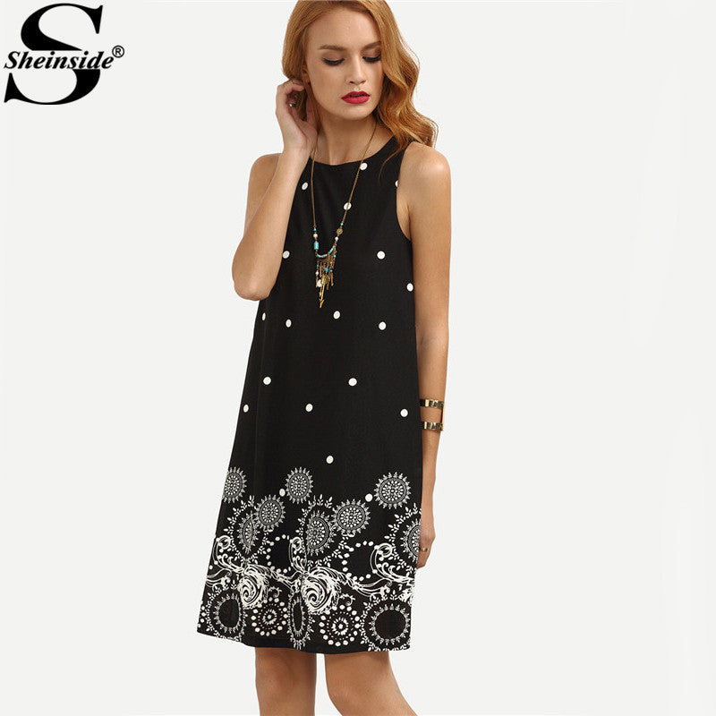 165cfcf496 ... Sheinside Ladies Vintage Boho Summer Dress Black Polka Dot Print  Straight Dresses Cute Women Crew Neck ...