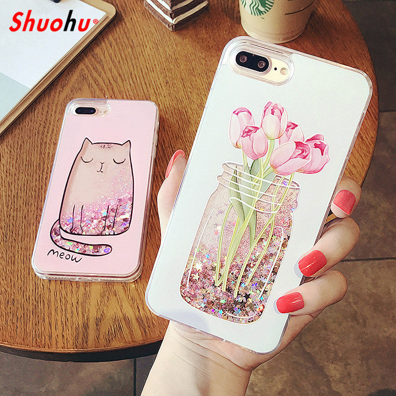 hot sale online 305ef 05424 Shuohu Quicksand Dynamic Liquid Phone Cases for Iphone 6 6S Case Silicone  Flower Cute Capa Coque for Iphone 7 Plus Case Glitter