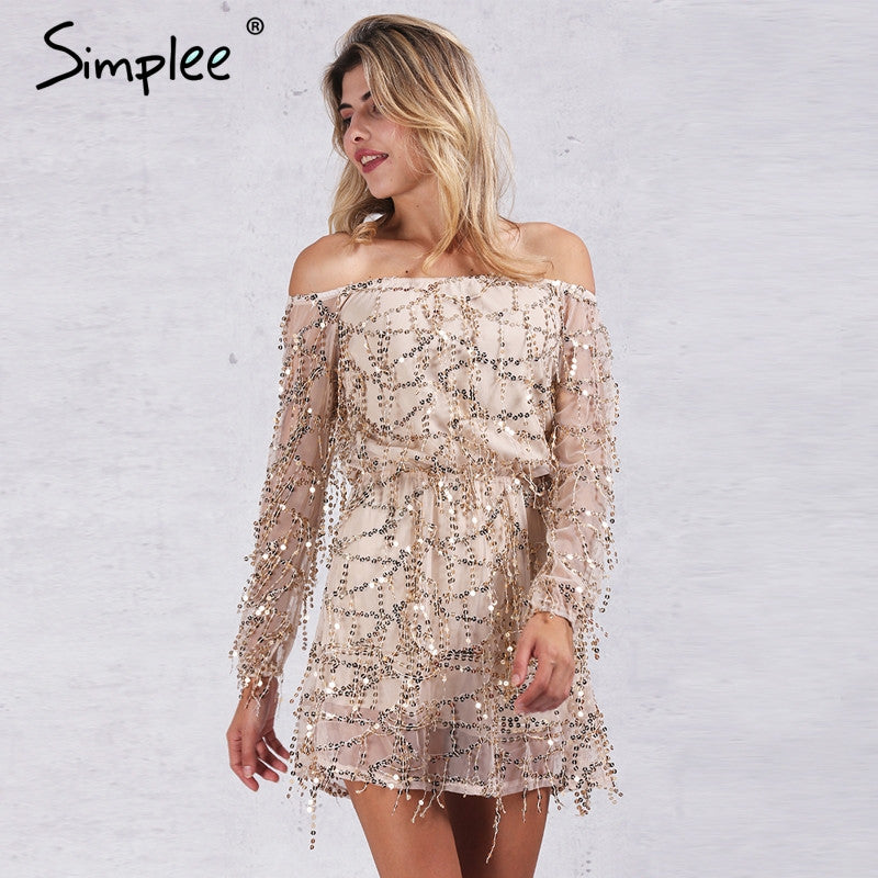 Simplee Apparel Sexy off shoulder sequin tassel summer dress 2016 beach party short dress Women backless vintage dress vestidos