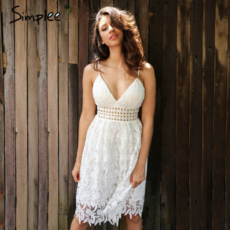 3831bb7f1927 Simplee Deep V padded backless white lace dress Lined summer dress women  sundress Sexy hollow out ...