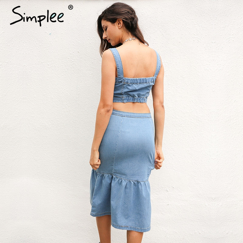 Simplee Sexy Summer Denim Dress Suit Women Strap Button Crop Top