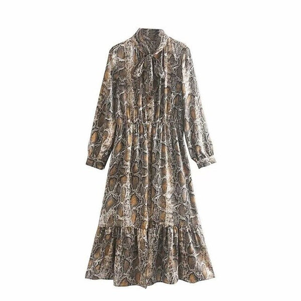 Snake Printing Maxi Dress Fall 2019 Women Scarf Collar Shirt Dress Lady Long Sleeve Vestidos Robe femme