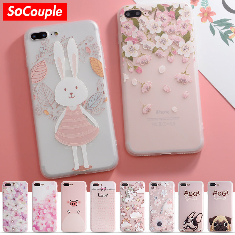 best sneakers 96c36 9d718 SoCouple Colorful Flower Rabbit Case For iphone 7 Case Cute Cartoon Animal  Back Cover Phone Cases For iphone 6 6S 6/7/8 PLus 8 X