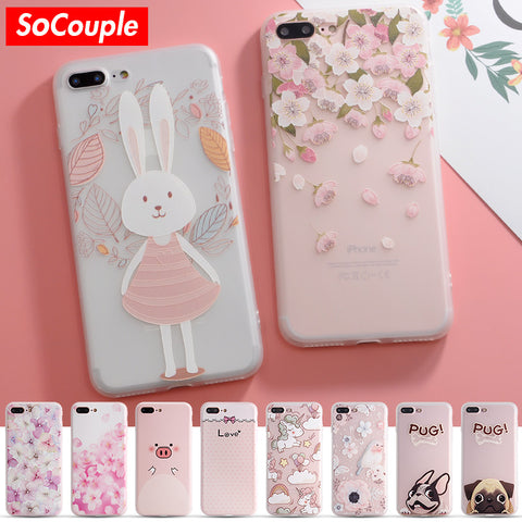 best sneakers 0ae84 775e7 SoCouple Colorful Flower Rabbit Case For iphone 7 Case Cute Cartoon Animal  Back Cover Phone Cases For iphone 6 6S 6/7/8 PLus 8 X