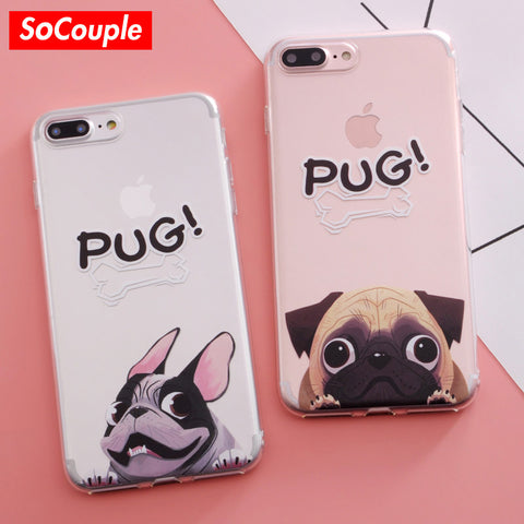 SoCouple Pocket Dog TPU Phone case for iphone 7 5 5S SE For iphone 6 6s 6/7/8 plus X Funny BullDog Pug Pattern Silicone case